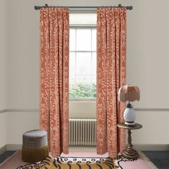 ANACONDA Cut-Velvet Curtain - Dusky pink