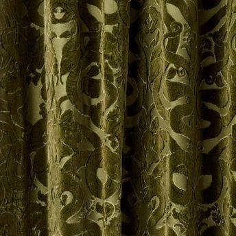 ANACONDA  Velvet Curtain - Olive Green
