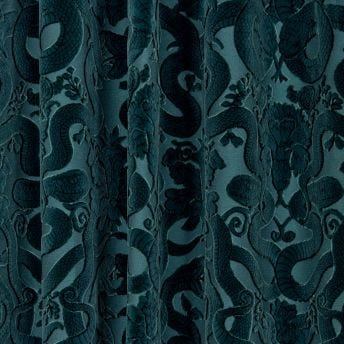 ANACONDA Cut-Velvet Curtain - Petrol