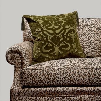 ANACONDA Large Velvet Cushion - Olive-Green