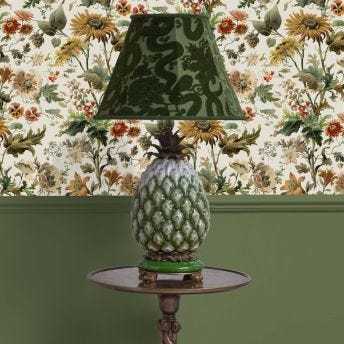 ANACONDA Marlow Olive-Green Lampshade with Ananas Pineapple Lampstand