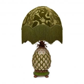 ANACONDA Oria Olive-Green Lampshade with Ananas Pineapple Lampstand