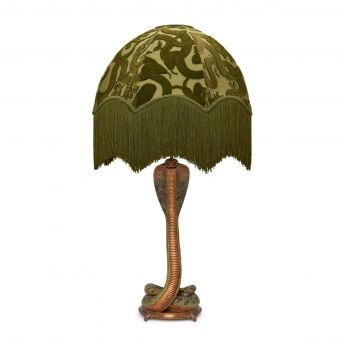 ANACONDA Oria Olive-Green Lampshade with Cobra Lampstand