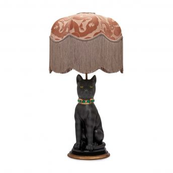 ANACONDA Tilia Dusky-Pink Lampshade with Cleo the Cat Lampstand