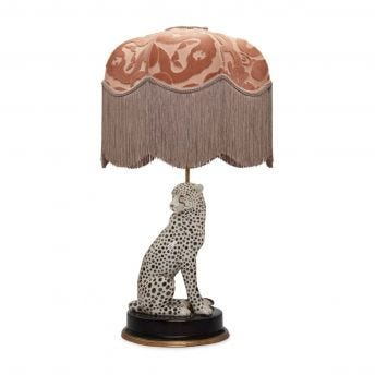 ANACONDA Tilia Dusky-Pink Lampshade with Cheetah Lampstand