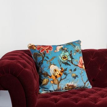 ARTEMIS Large Velvet Cushion - Azure