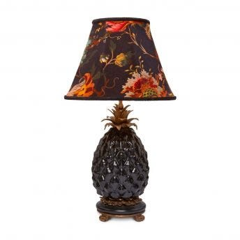ARTEMIS Marlow Black Lampshade with Ananas Pineapple Lampstand