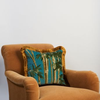 BAMBUSA Medium Fringed Velvet Cushion - Azure