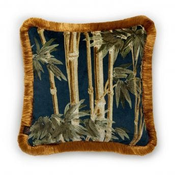 BAMBUSA Medium Fringed Velvet Cushion - Midnight