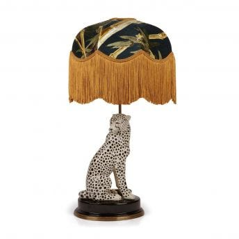 BAMBUSA Tilia Midnight Lampshade with Cheetah Lampstand