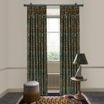 BLACKTHORN Velvet Curtain - Billiard Green