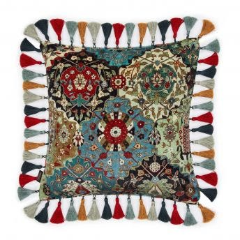 CASPAR Medium Fringed Velvet Cushion - Forest