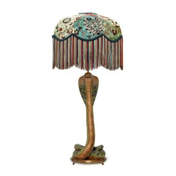 CASPAR Tilia Forest Lampshade with Cobra Lampstand
