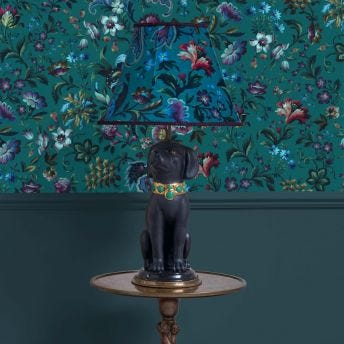 FLORIKA Marlow Petrol Lampshade with Nyx the Dog Lampstand