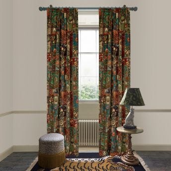 GARDENIA Velvet Curtain - Forest