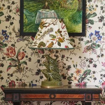 HERBARIUM Marlow Ecru Lampshade with Amphibia Lampstand