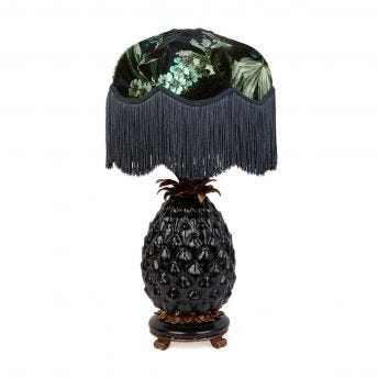 LIMERENCE Tilia Ink Lampshade with Ananas Black Pineapple Lampstand