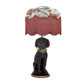 MAJORELLE Tilia Ecru Lampshade with Nyx the Dog Lampstand