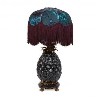 MAJORELLE Tilia Petrol Lampshade with Ananas Black Pineapple Lampstand