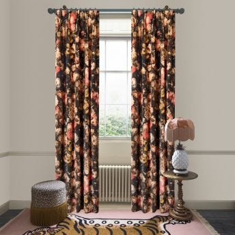 MIDNIGHT GARDEN Velvet Curtain - Multi