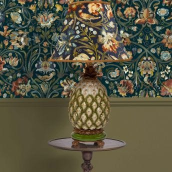 GAIA Marlow Midnight Lampshade with Ananas Pineapple Lampstand