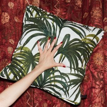 PALMERAL Large Cotton-Linen Cushion - Off White / Green