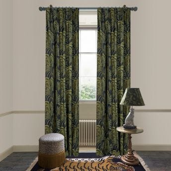 PALMERAL Cotton Linen Curtain - Midnight & Green