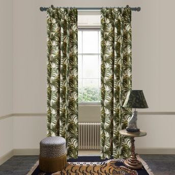 PALMERAL Cotton Linen Curtain - White & Green