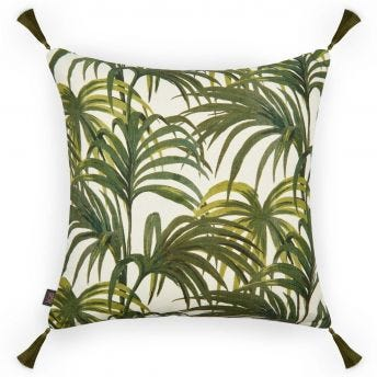 PALMERAL Large Cotton-Linen Cushion - Off-White / Green