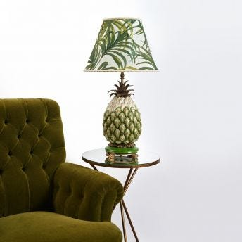 PALMERAL Marlow Table Lampshade - Off-White/Green