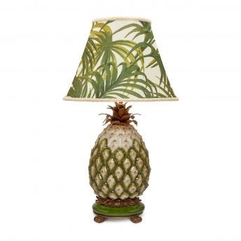 PALMERAL Marlow Off White/Green Lampshade with Ananas Pineapple Lampstand