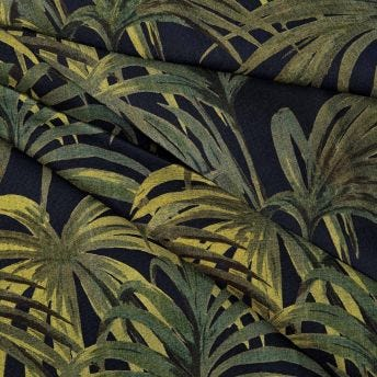 PALMERAL Cotton-Linen Fabric - Midnight / Green