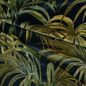 PALMERAL Velvet Fabric - Midnight / Green