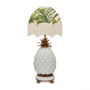 PALMERAL Oriella Off White/Green Lampshade with Ananas White Pineapple Lampstand