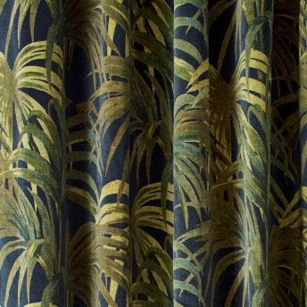 PALMERAL Velvet Curtain - Midnight & Green