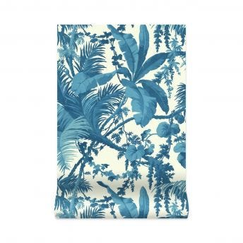 PAMPAS Wallpaper - Off-White & Cerulean