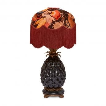 PHANTASIA Tilia Selenite-Orange Lampshade with Ananas Black Lampstand