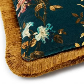ROSETTA Medium Fringed Velvet Cushion - Petrol