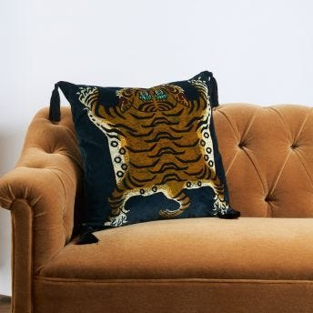 SABER Large Velvet Cushion - Midnight