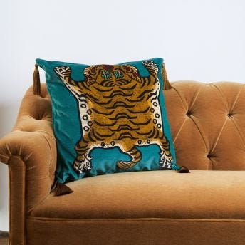 SABER Large Velvet Cushion - Teal