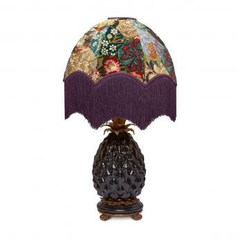 SATURNALIA Oria Patchwork Lampshade with Ananas Black Lampstand