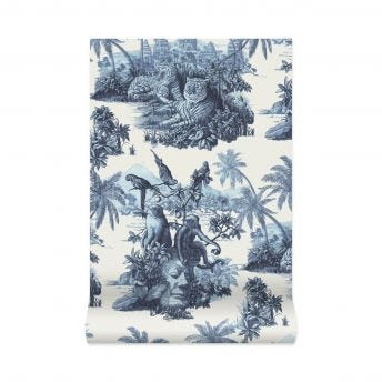 SUMATRA Wallpaper - Off-White & Azure