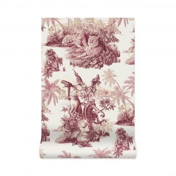 SUMATRA Wallpaper - Off-White & Rose