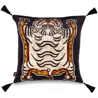 TIGRIS Large Velvet Cushion - Black