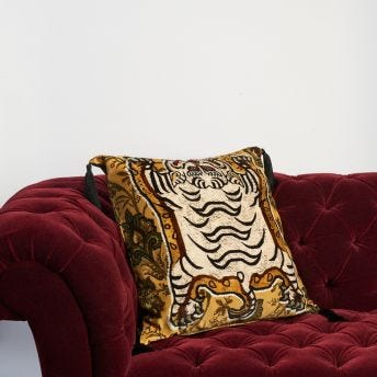 TIGRIS Large Velvet Cushion - Ochre