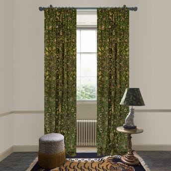 ZANJAN Velvet Curtain - Juniper Green